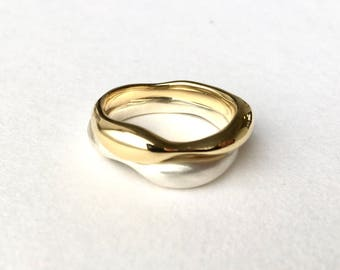 Gold Stacking Rings - Sargasso Organic Shape silver and gold rings - Alternative Wedding Ring - Non Traditional Wedding Rings