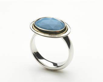 Blue Opal Gold and Silver ring - Platform Ring - non-traditional alternative - size 7 1/2 size P