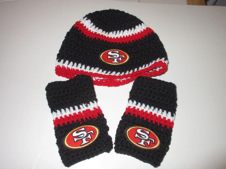 San Francisco 49ers  Beanie Style Red Black White  Hand Crochet