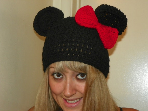 Disney Minnie Mouse Knit Beret with Large Bow