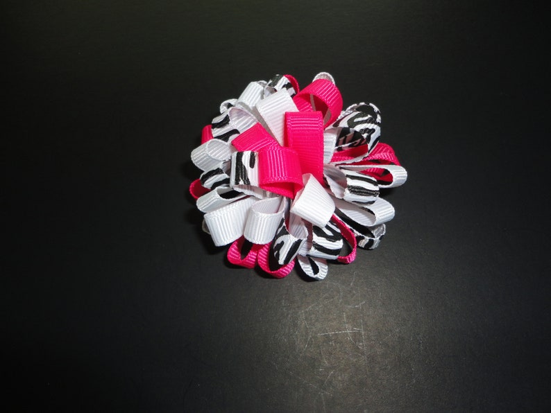 Pretty Black and Pink Zebra Loopy Bow