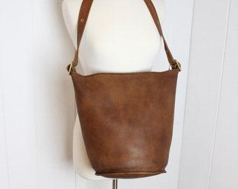 b69cfdeb4 Vintage Coach Bag // Duffle Bag British Tan RARE New York City // Bucket  Bag Feed Sac Pre 9085 NYC