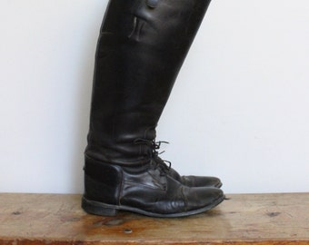 SALE Vintage Riding Boots 9 // Black Leather Equestrian Tall Boots / English Riding Boots