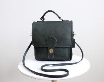 b2cbda3b9d87 Vintage Coach Bag    Station Bag Green Pre 5130    Leather Crossbody Bag  Purse Handbag