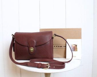 fa74e54253 Vintage Coach Bag    Devon Crossbody Bag Burgundy Pre 9908 New in Box    Purse  Handbag