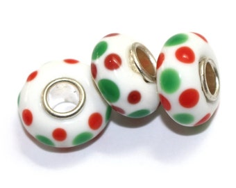 Bulk 5 Beads-Red and Green Spotted Murano Glass Lampwork Silver Plated Large Hole Beads to fit European Style Charm Bracelet |ES-111-SP