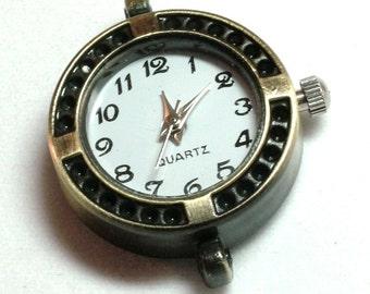 1 Quartz Watch Face, round shaped Antiqued Bronze Tone- craft supplies, jewelry making |W-038-B