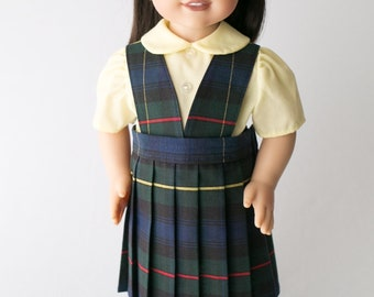 School Uniform sized for the American Girl Doll,  Navy and Green Plaid #55,  3 piece set, Jumper, Blouse and Hair Band,  Free Shipping