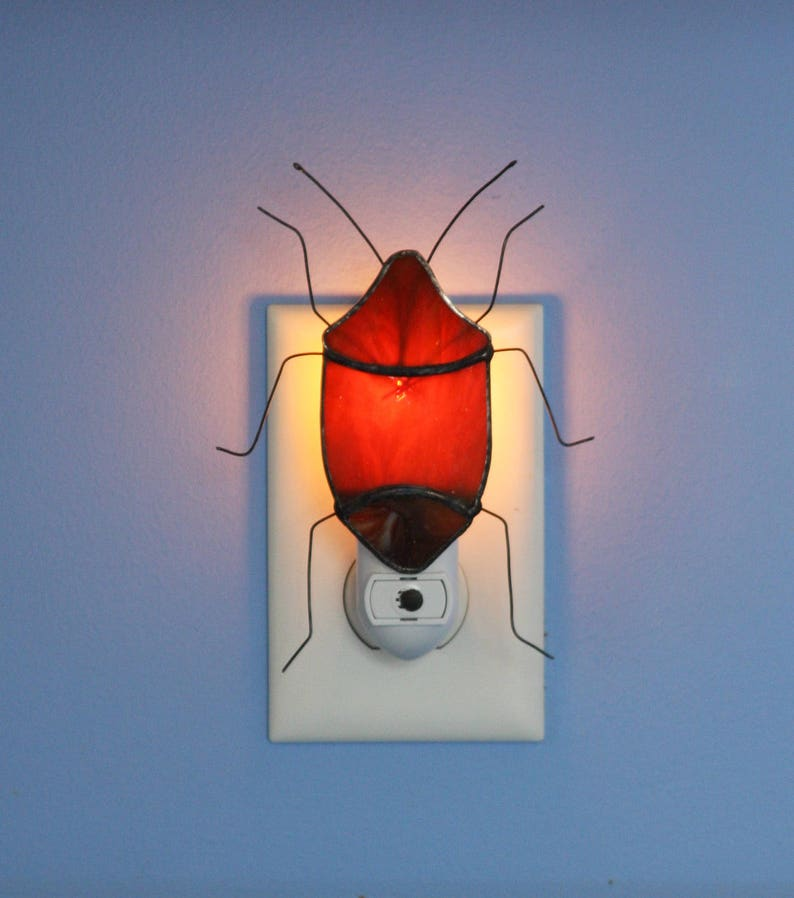 Stained Glass Night Light Brown Stink Bug Insect Pest Light Sensored