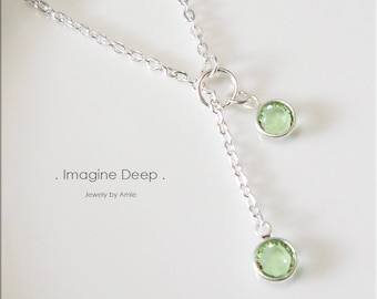 30%off SPECIAL Light Green Lariat Necklace Y Necklace Silver Plated Peridot like Swarovski Crystal Necklace