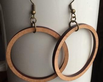 Wood Hoop Earrings Cherry Laser Cut Earrings Cherry Wood Hoops Wood Earrings Wood Circle Earrings