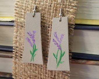 Loving the Lavender - Hand Painted Leather Earrings