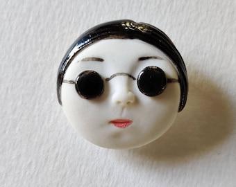 Daili jewellery sunglasses girl Little head Face Handmade Porcelain Ceramic Brooch