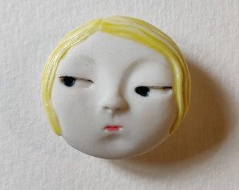 Daili jewellery blonde girl Little head Face Handmade Porcelain Ceramic Brooch