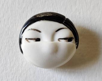Daili jewellery facemask girl Little head Face Handmade Porcelain Ceramic Brooch