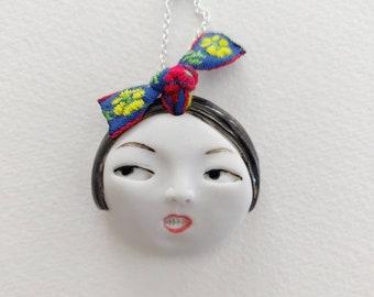 Little head Face ribbon Handmade Porcelain Ceramic Pendant Necklace