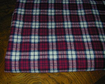 Flannel Fabric Dark Red and White Cotton Plaid