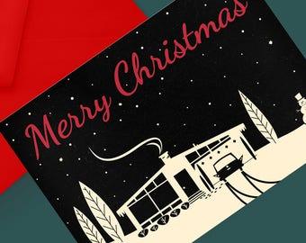 Printable Mid-Century Snowscene Christmas Card: Black
