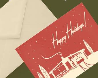 Printable Mid-Century Snowscene Christmas Card: Red