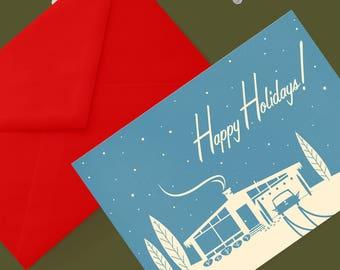 Printable Mid-Century Snowscene Christmas Card: Blue