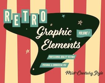 Mid-Century Style Retro Graphic Vectors