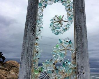 Beach glass panels with white starfish