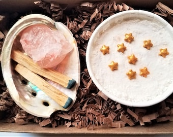 Relaxation Spa Gift   Self Care Kit   Smudge Kit, Luxury Bath Bomb & Pink Bath Salt Crystal   Spa Gift For Coworker