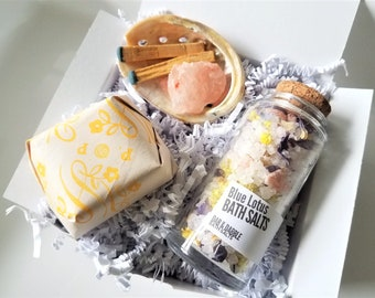 Bath Soak Gift Set | Relaxation gift | Detox Bath Salt, Shea Butter Soap & Smudge Kit | Self Care Gift Box