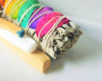 Energy Cleansing Smudge Kit | 7 Chakra Rose Smudge Stick White Sage Bundle | Palo Santo Incense Match |  Selenite Wand