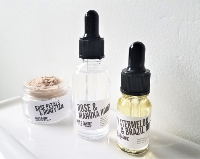 Featured listing image: Rose & Honey Skincare Set for Acne Prone, Mature Skin | Facial Mask, Facial Toner, Face Oil | Facial Gift Set