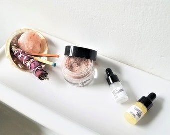 Self Care Kit | Face Mask Kit  | Complete Smudge Kit | Pink Bath Salt Crystal