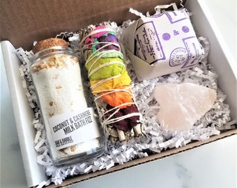 Christmas Spa Gift Set For Her | Bath Fizz, Pink Salt Bath Crystal, Argan Oil Soap, Chakra Smudge Stick | Bath Soak Gift Set