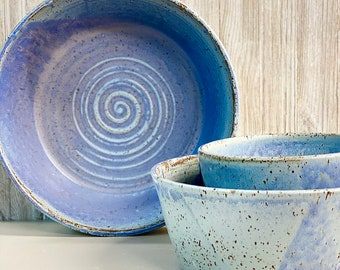 """Nesting Bowls, Speckled Lavender, Handmade, READY TO SHIP, Wheel-Thrown Pottery, Lg 11"""", Med 9"""", Sm 6.5"""""""