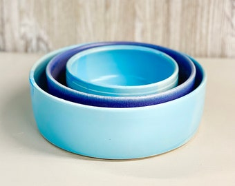 "Nesting Bowls, Lg 8.25"", Med 7"", Sm 5"", Handmade, READY TO SHIP, Wheel-Thrown Pottery"