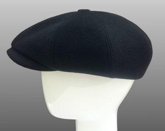 Black Cashmere Peaky Blinders Arthur Shelby Bakerboy Paperboy Newsboy Flat  Cap Hat Retro Gatsby Bespoke Large Any Size XL Custom Made 3efa6fc8ca4