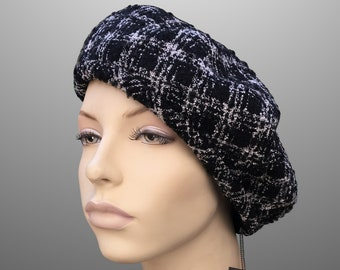 a6a87bb9fca NEW Monica Tweed Plaid Buckle French Beret Fabric Hat Custom Made Large XL  Black Grey Wool Pancake Tam Any Size Handmade Chanel Armani