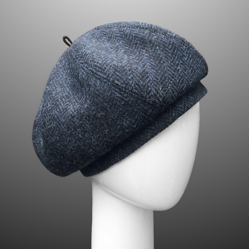 d8e38fc3 Swirl Beret Hat Cloche Navy Blue or Gray Harris Tweed | Etsy