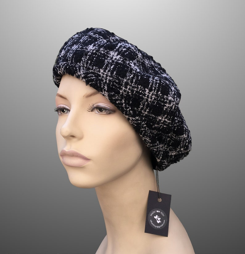 11e844626 NEW Monica Tweed Plaid Buckle French Beret Fabric Hat Custom Made Large XL  Black Grey Wool Pancake Tam Any Size Handmade Chanel Armani