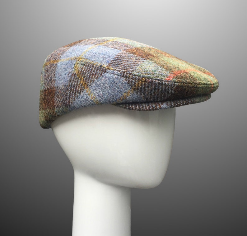 545dbf895 Ivy Driver Derby Flat Cap Hat Bespoke CUSTOM MADE MacLeod Harris Tweed  Black Cashmere Men Large Classic Retro Any size or Any Fabric