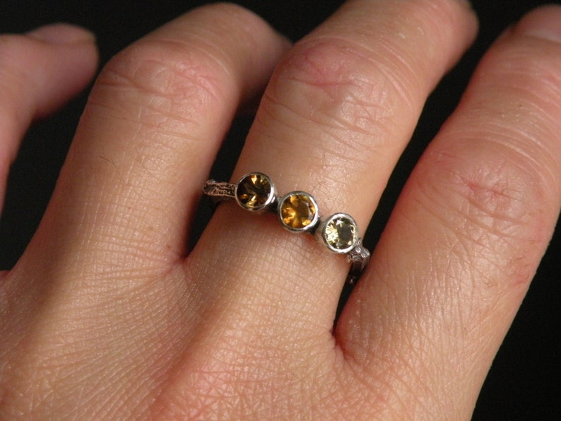 Earth Elements Sterling Silver Twig Rings Amber Hued Trio