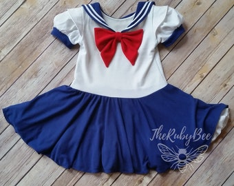 Sailor Scout School Girl Circle Skirt Skater Dress Made to Order by  TheRubyBee toddler to tween size 86c30901be28