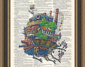 Howl's Moving Castle illustration printed on a vintage dictionary page. Nursery Print, Totoro Poster, My Neighbor Totoro, Kid's Room Decor.
