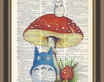 Totoro chu and chibi illustration printed on a vintage dictionary page. My Neighbor Totoro Print, Nursery Poster, Kids Decor, Anime Print.