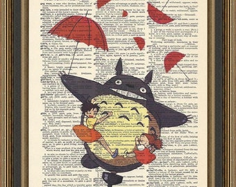 Totoro flying through the air illustration printed on a vintage dictionary page. My Neighbor Totoro Poster,Nursery Print, Kids Playroom Art.