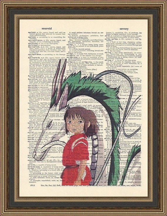 Spirited Away Haku Dragon And Chihiro Illustration Is Printed Etsy