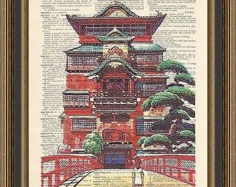Spirited Away Bathhouse illustration printed on  a vintage dictionary page, Anime Poster, Manga Print, Nursery Wall Decor, Kid's Playroom.