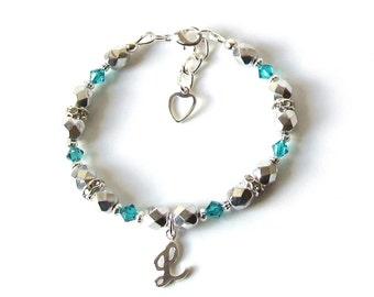 Personalized Kids Bracelet, December Birthstone Bracelet, Toddler Bracelet Personalized, Initial Bracelet, Personalized Bracelet for Kids