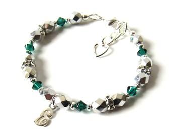 Childrens Jewelry, May Birthstone Bracelet, Girls Initial Bracelet, Kids Jewelry Personalized, Birthstone Jewelry Children, Child Bracelet