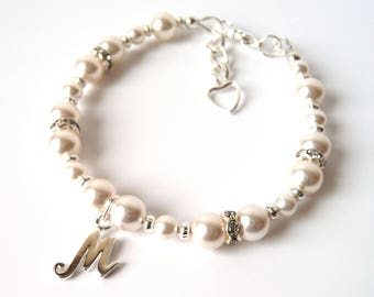 Flower Girl Bracelet Personalized, Flower Girl Bracelet Pearl with Initial, Flower Girl Jewelry, CHOOSE INITIAL & SIZE, Flower Girl Gift