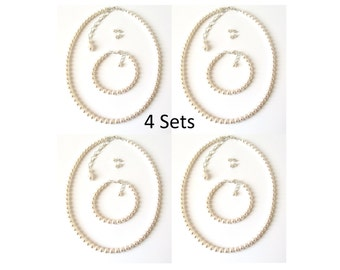 Pearl Bridesmaid Jewelry SET OF 4, Wedding Jewelry, Bridesmaid Gifts, Bridal Party Jewelry, Pearl Jewelry Set, Jewelry Sets for Bridesmaids